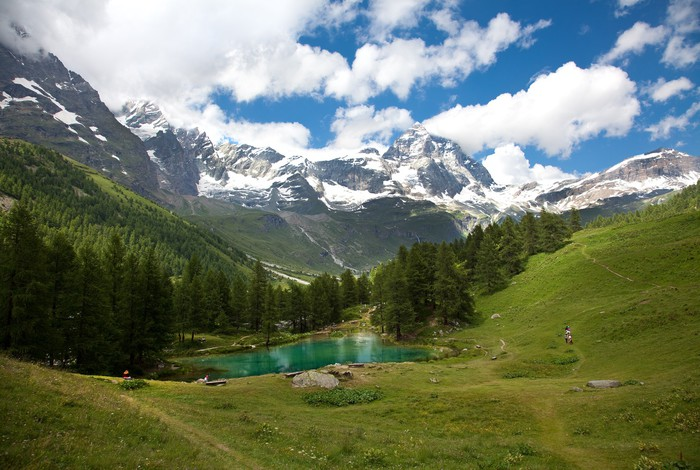 Vinylová Tapeta Cervinia, Valle d'Aosta, Itálie (Lake modrá) - Evropa