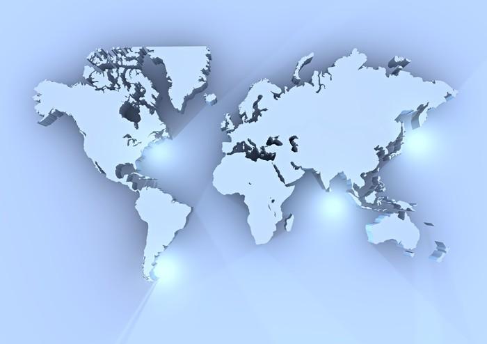 Stampe Parete Camera Da Letto : Quadro su tela planisfero mondo d azzurro cartina