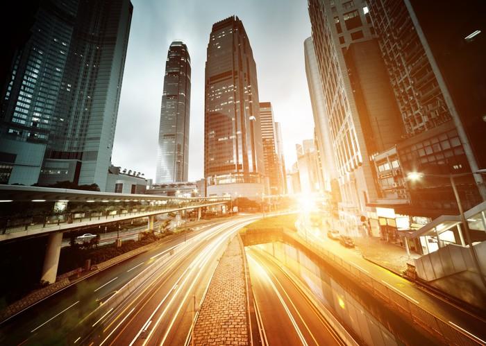 Vinylová Tapeta Provoz v Hong Kongu v době západu slunce - Asijská města
