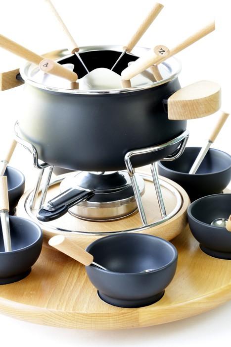 fototapete spezielle reihe von utensilien zum kochen fondue k se schokolade pixers wir. Black Bedroom Furniture Sets. Home Design Ideas