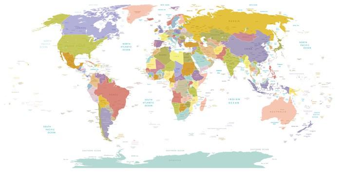 Carta da Parati in Vinile High Detail Mondo map.Layers utilizzato. - Temi
