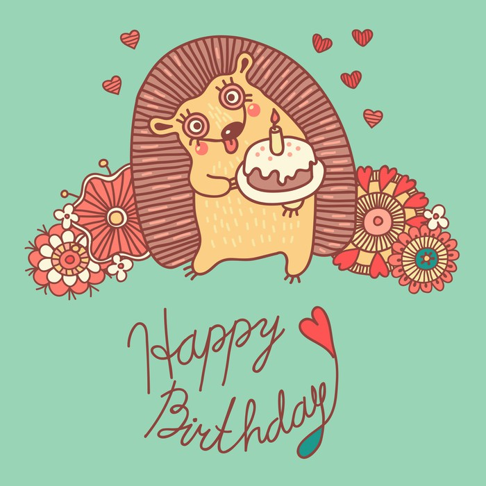 Cute Card With A Hedgehog And Flowers Happy Birthday Wall Mural