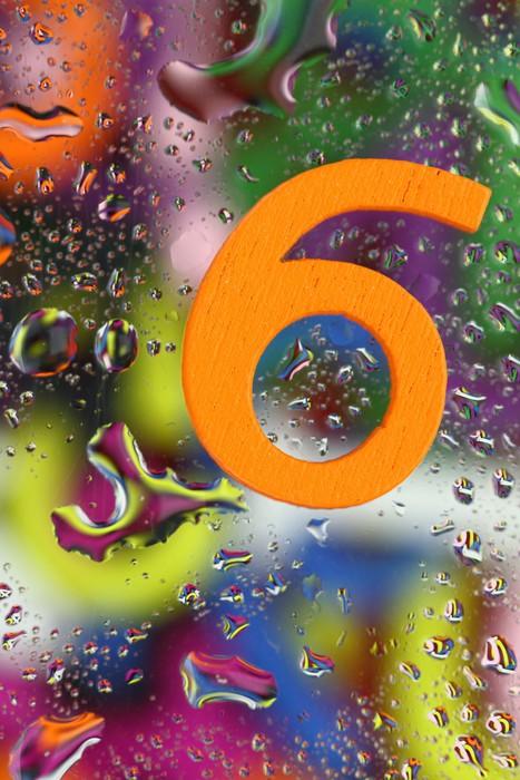 Vinylová Tapeta Číslo šest na abstraktní barevné pozadí kapky - Aplikované a přírodní vědy