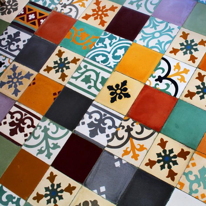 papier peint sun ciment carreaux colora pixers nous. Black Bedroom Furniture Sets. Home Design Ideas