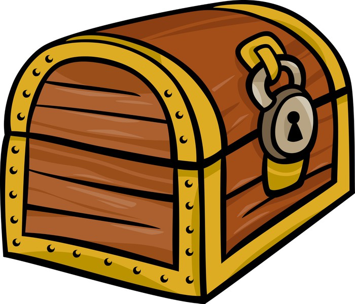 Treasure Chest Clip Art Cartoon Illustration Wall Mural