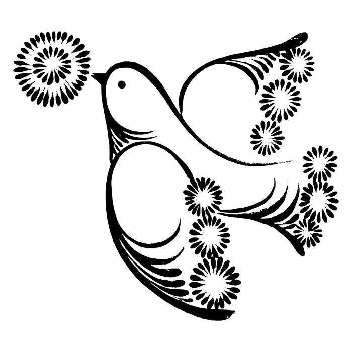 Vinylová fototapeta Letící pták s květinou - Vinylová fototapeta
