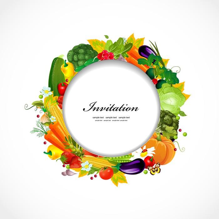 Fototapete Runde Rahmen mit frischem Gemüse für Ihren Entwurf ...
