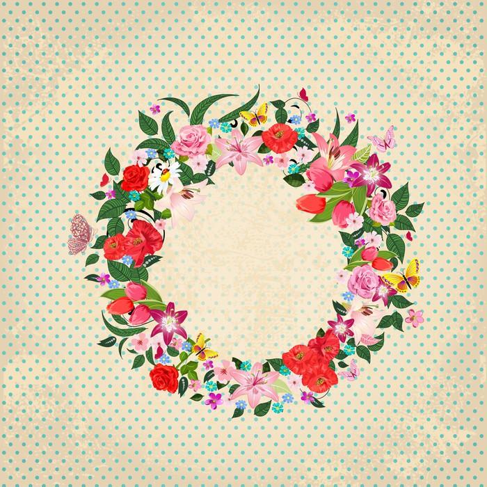 Aufkleber Runde Rahmen von schönen Blumen für Ihr Design • Pixers ...