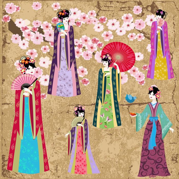 papier peint oriental fille en costume r tro pixers. Black Bedroom Furniture Sets. Home Design Ideas