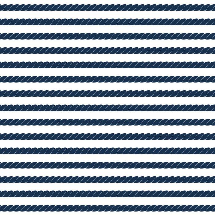 Vinylová Tapeta Navy lano prokládané bezproblémové vzorek v modré a bílé, vektoru - Prázdniny