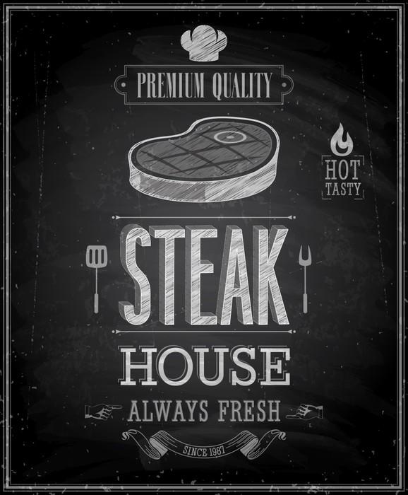 Papier Peint Vinyle Steak House affiche de cru - tableau. Vector illustration. - Vente