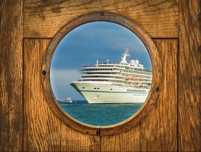 Ship Porthole Window With Seascape And Cruise Ship Wall
