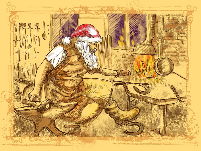Santa Claus in the smithy manufactures horseshoes Wall Mural ...