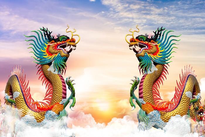 Carta da parati drago cinese al tramonto sullo sfondo for Carta da parati cinese