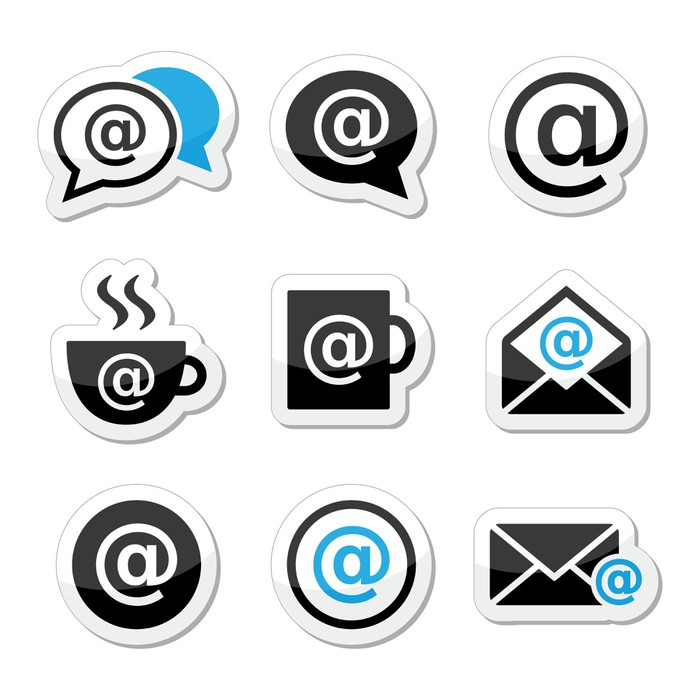 Email Internet Cafe Wifi Vector Icons Set Sticker Pixers We