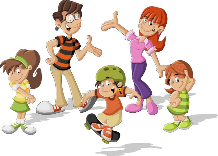 Vinilo Pixerstick Familia Feliz De Dibujos Animados Lindo