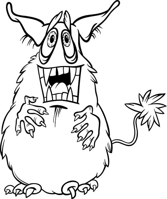 Vinilo Pixerstick Ilustración monstruo de dibujos animados para ...