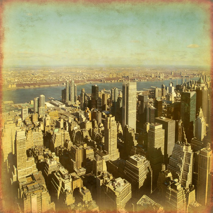 New York City Manhattan aerial view. Grunge and retro style. Wall ...