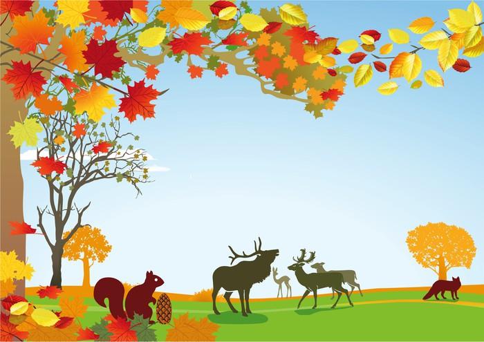 Vinylová Tapeta Herbst mit Wildtieren - Roční období