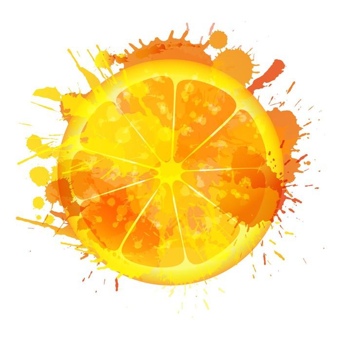 Vinylová Tapeta Orange plátek z barevných šplouchá na bílém pozadí - Ovoce