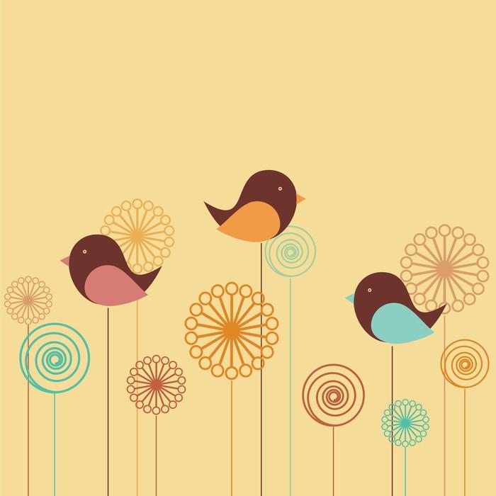 Nálepka Pixerstick Souvislosti s ptáky a květiny - Témata