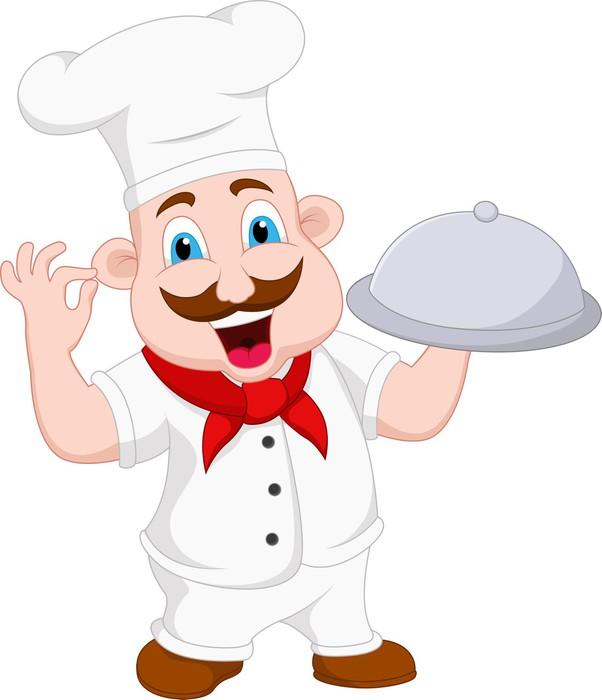 Fotomural personaje de dibujos animados chef pixers for Material para chef