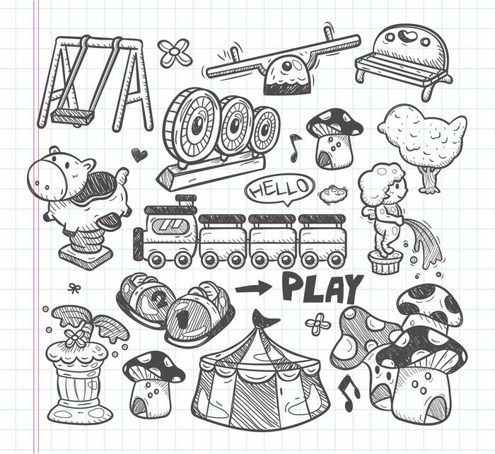 Vinylová Tapeta Doodle ikony hřiště - Pozadí
