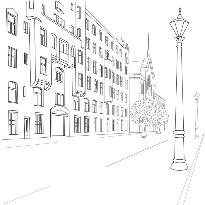 Vinylová Tapeta Ulice města - Soukromé budovy