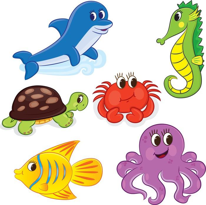 Vinilo pixerstick conjunto de animales mar dibujos