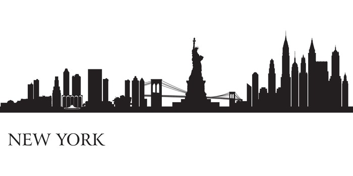 new york city skyline silhouette background wall mural pixers