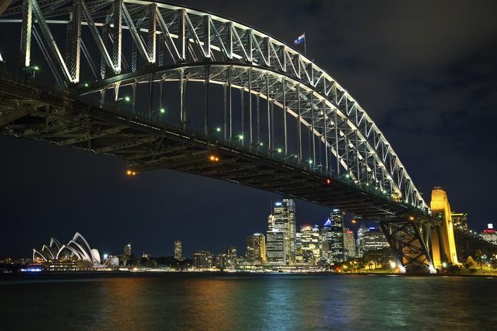 Vinylová fototapeta Sydney přístavní most v Austrálii v noci - Vinylová fototapeta