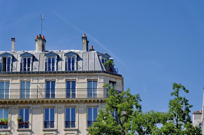Vinylová Tapeta Immeuble parisien, toit gris, ciel bleu - Evropská města