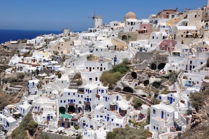 Vinylová Tapeta Häuser und Felshöhlen v Oia / Insel Santorin - Prázdniny