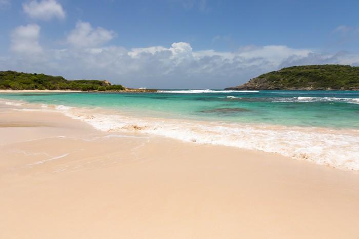 Vinylová Tapeta Krásné pláže se zlatavým pískem na Half Moon Bay Antigua - Voda