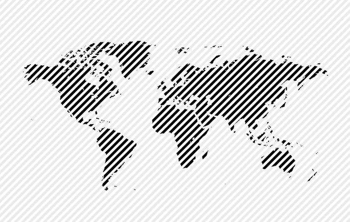 Vinylová Tapeta Map world - Značky a symboly