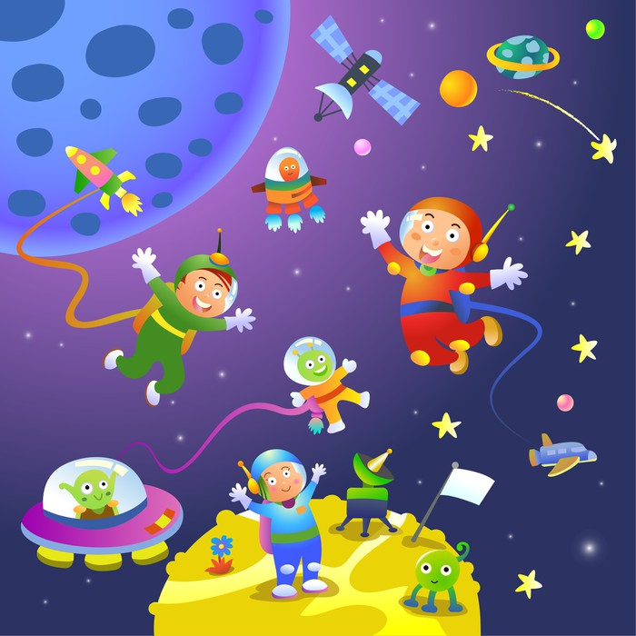 Boy girl astronaut in space scenes wall mural pixers for Astronaut wall mural