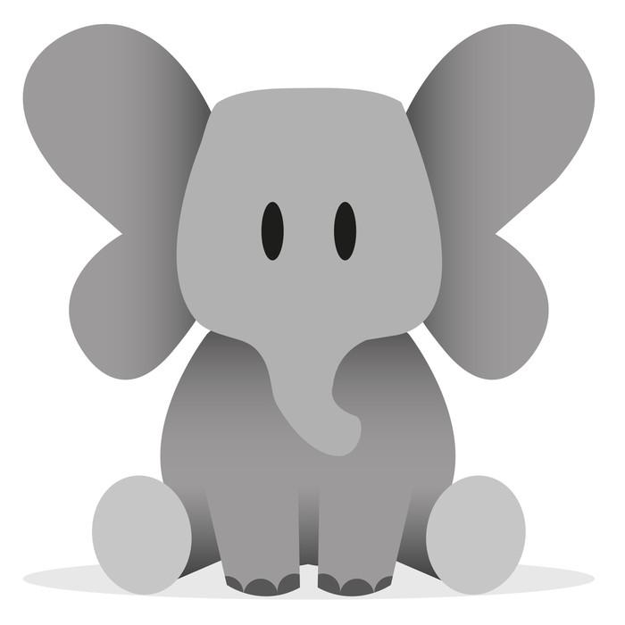 Sticker Pixerstick Une jolie icône de bande dessinée d'éléphant de bébé de vecteur - Sticker mural