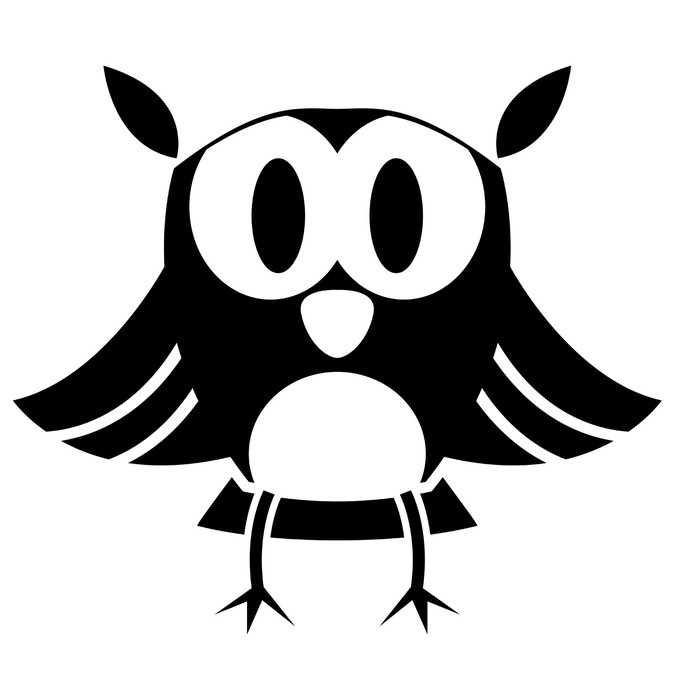 Vector Cute Black And White Cartoon Owl Poster Pixers We Live