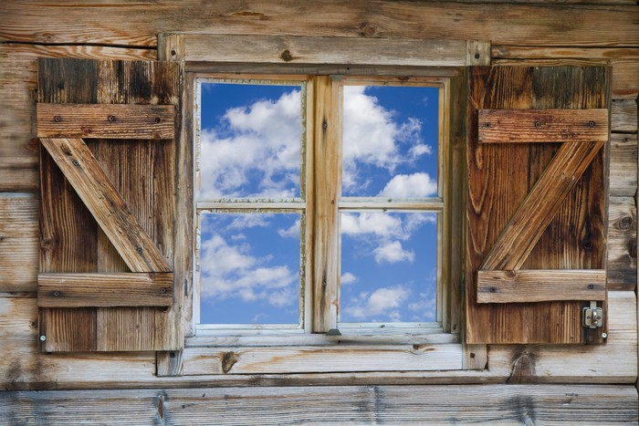 rustic bathroom ideas pictures fenster einer bergh 252 tte mit himmel in s 252 dtirol wall mural 20264