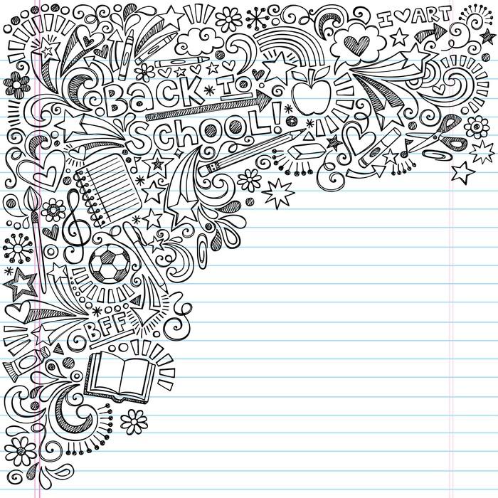 Back to school inky doodles vector on notebook paper background wall back to school inky doodles vector on notebook paper background vinyl wall mural education altavistaventures Gallery