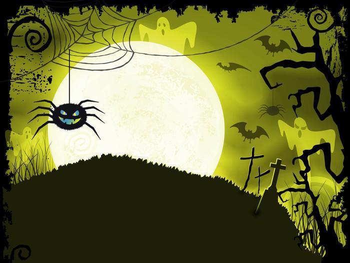 Vinylová Tapeta Žlutozelená Halloween pozadí s strašidelné pavouk - Mezinárodní svátky