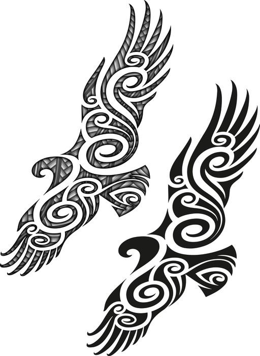 fototapete maori tattoo muster adler pixers wir. Black Bedroom Furniture Sets. Home Design Ideas