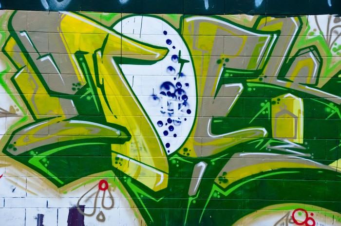Carta da parati particolare astratto graffiti in verde for Carta da parati particolare