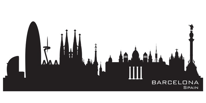 Barcelona Spain City Skyline Vector Silhouette Wall Mural