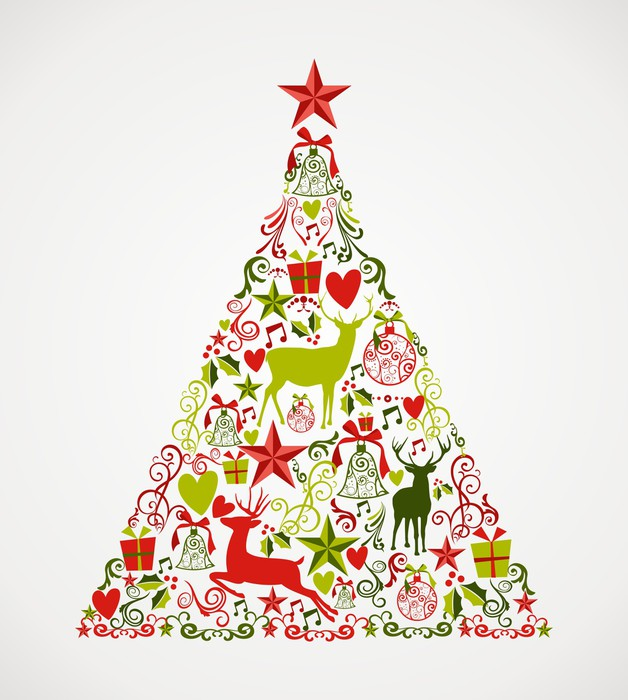 Merry Christmas tree shape full of elements composition EPS10 fi
