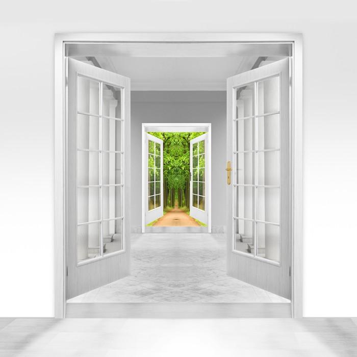 fototapete ge ffnete t r zu gr nen garten umwelt business. Black Bedroom Furniture Sets. Home Design Ideas