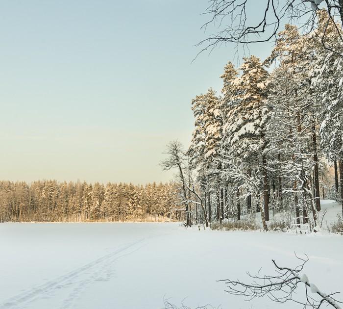 Vinylová Tapeta Ruská zima jezero pokryté sněhem a ledem - Mezinárodní svátky