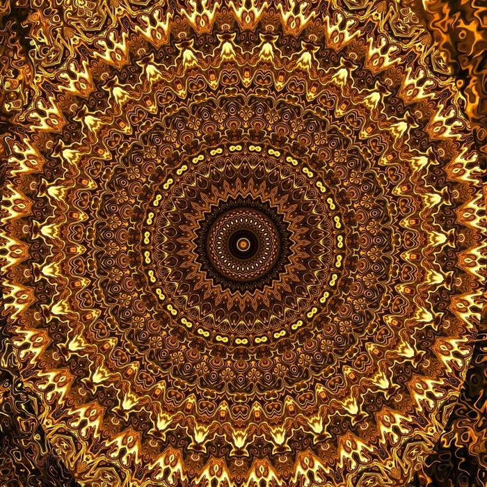 Abstract Golden Mandala Vinyl Wall Mural