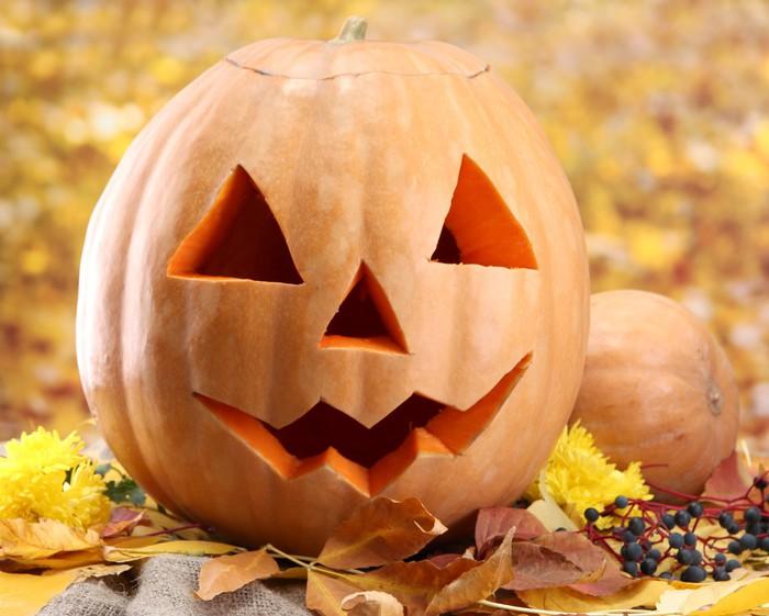 Carta da Parati in Vinile Zucche di Halloween e foglie di autunno a39b2085d3c8