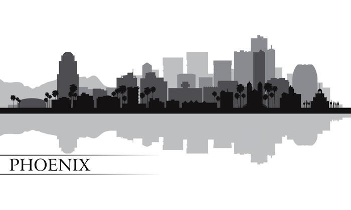 Vinylová Tapeta Město Phoenix panorama silueta na pozadí - Amerika